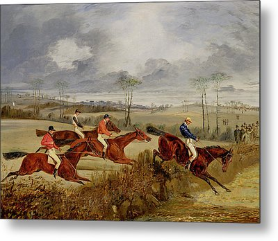 A Steeplechase - Near The Finish Metal Print by Henry Thomas Alken