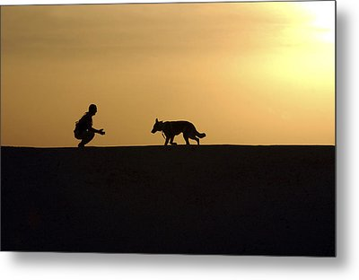 A Military Working Dog And His Handler Metal Print by Stocktrek Images