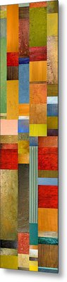 Color Panels With Green Grass Metal Print by Michelle Calkins