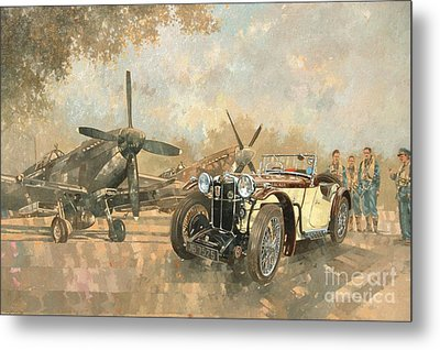 Cream Cracker Mg 4 Spitfires  Metal Print by Peter Miller