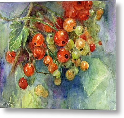Currants Berries Painting Metal Print by Svetlana Novikova