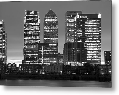 Docklands Canary Wharf Sunset Bw Metal Print by David French