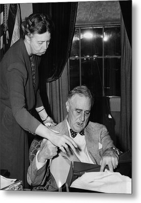 Fdr Presidency. First Lady Eleanor Metal Print by Everett