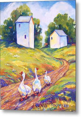Goose Walk Metal Print by Peggy Wilson