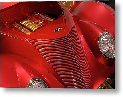 Red Classic Car Details Metal Print by Oleksiy Maksymenko