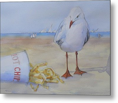 Seagull And Hot Chips Metal Print by Tony Northover