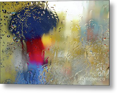 Silhouette In The Rain Metal Print by Carlos Caetano