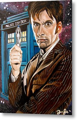 The Tenth Doctor And His Tardis Metal Print by Emily Jones