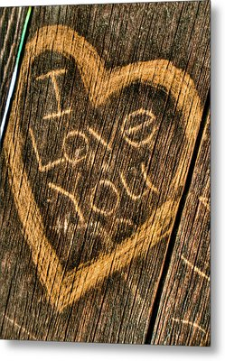Wood Carving I Love You Metal Print by Connie Cooper-Edwards