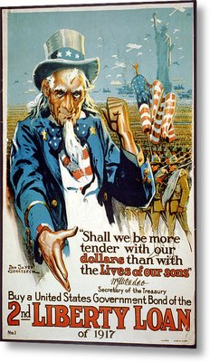 World War I, Poster Showing Uncle Sam Metal Print by Everett