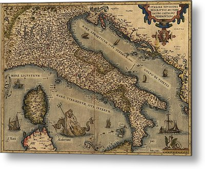 1570 Map Of Italy  From Abraham Metal Print by Everett