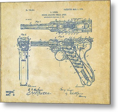 1904 Luger Recoil Loading Small Arms Patent - Vintage Metal Print by Nikki Marie Smith