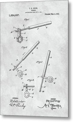 1913 Wrench Patent Illustration Metal Print by Dan Sproul