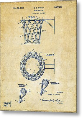1951 Basketball Net Patent Artwork - Vintage Metal Print by Nikki Marie Smith