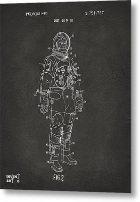 1973 Astronaut Space Suit Patent Artwork - Gray Metal Print by Nikki Marie Smith