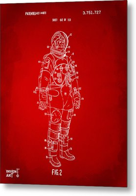 1973 Astronaut Space Suit Patent Artwork - Red Metal Print by Nikki Marie Smith