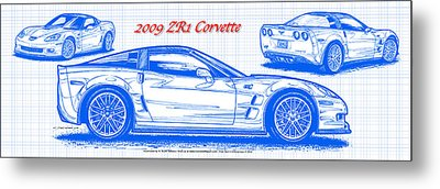 2009 C6 Zr1 Corvette Blueprint Metal Print by K Scott Teeters