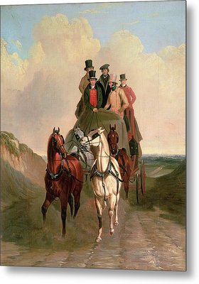 A Coach And Four On An Open Road  Metal Print by William Snr Shayer