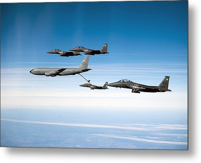 A F-15e Strike Eagle Is Refueled Metal Print by Stocktrek Images