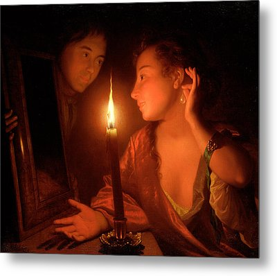 A Lady Admiring An Earring By Candlelight Metal Print by Godfried Schalcken