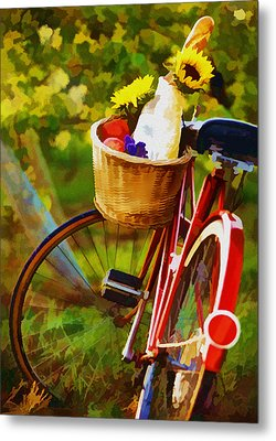 A Loaf Of Bread A Jug Of Wine And A Bike Metal Print by Elaine Plesser