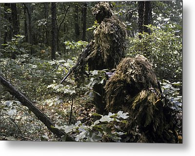 A Marine Sniper Team Wearing Camouflage Metal Print by Stocktrek Images