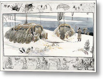 A Painting Depicts Ice Age People Metal Print by Jack Unruh