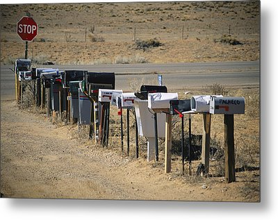 A Parade Of Mailboxes On The Outskirts Metal Print by Stephen St. John