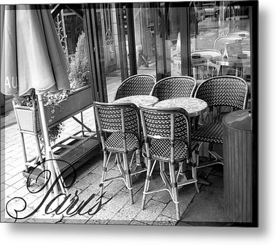 A Parisian Sidewalk Cafe In Black And White Metal Print by Jennifer Holcombe