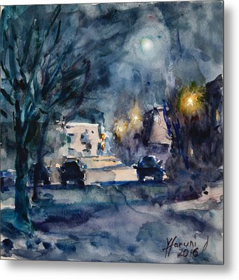 A Quiet Cold Night Under The Moon Metal Print by Ylli Haruni