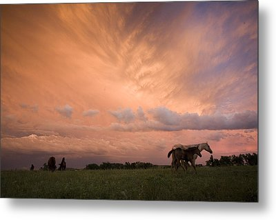 A Receding Thunderstorm Creates Metal Print by Jim Richardson