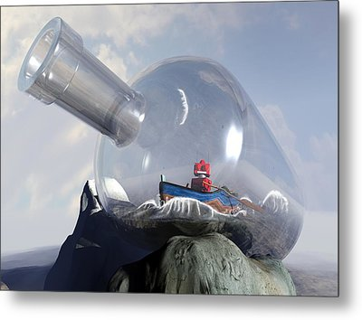 A Robot In A Bottle Metal Print by Michael Knight
