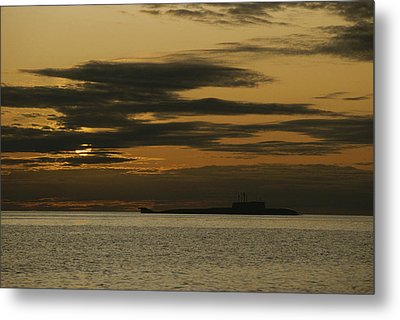 A Silhouetted Russian Submarine Metal Print by James P. Blair