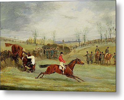 A Steeplechase - Another Hedge Metal Print by Henry Thomas Alken