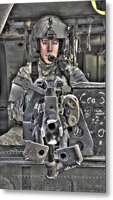 A Uh-60 Black Hawk Door Gunner Manning Metal Print by Terry Moore