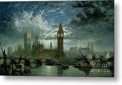 A View Of Westminster Abbey And The Houses Of Parliament Metal Print by John MacVicar Anderson