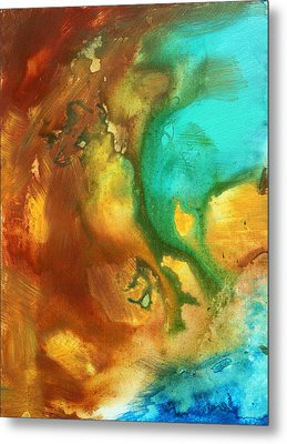 Abstract Art Colorful Turquoise Rust River Of Rust I By Madart  Metal Print by Megan Duncanson
