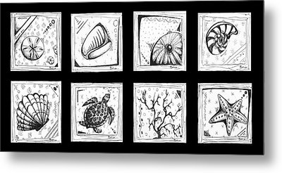 Abstract Art Contemporary Coastal Sea Shell Sketch Collection By Madart Metal Print by Megan Duncanson