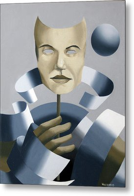 Abstract Mask Oil Painting Metal Print by Mark Webster