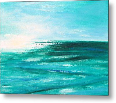 Abstract Sunset In Blue And Green 2 Metal Print by Gina De Gorna