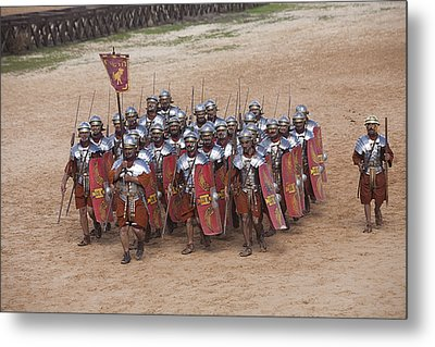 Actors Re-enact A Roman Legionaries Metal Print by Taylor S. Kennedy