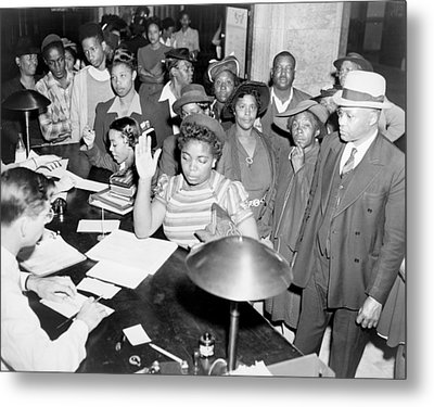 African Americans Lined Up To Register Metal Print by Everett