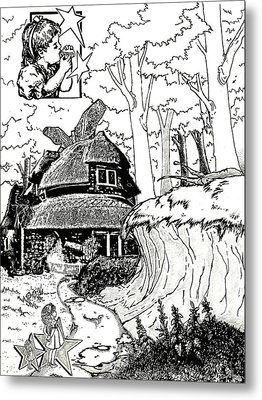Alice At The March Hare's House Metal Print by Turtle Caps