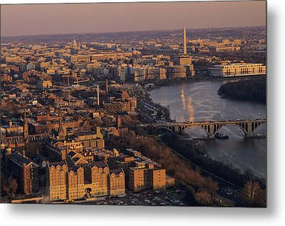 An Aerial View Of D.c. And The Potomac Metal Print by Kenneth Garrett