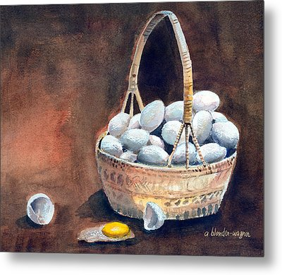 An Egg Mishap Metal Print by Arline Wagner