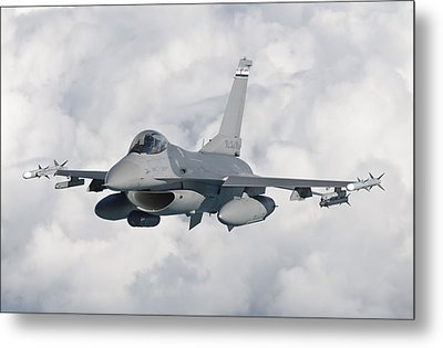 An F-16 From The Colorado Air National Metal Print by Giovanni Colla