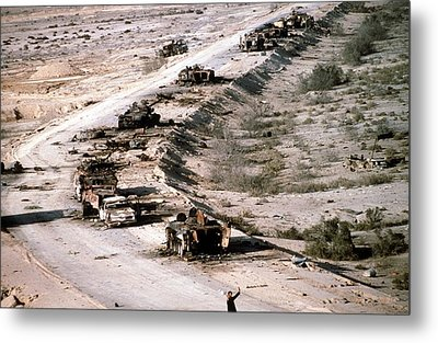 An Iraqi Armored Column Destroyed Metal Print by Everett