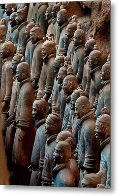 Ancient Soldier Statues Stand At Front Metal Print by O. Louis Mazzatenta