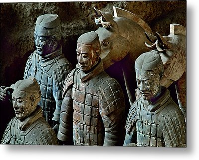 Ancient Terracotta Soldiers Lead Horses Metal Print by O. Louis Mazzatenta