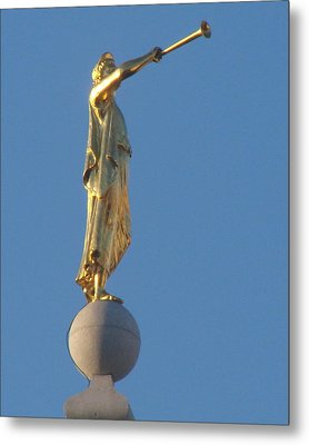 Angel Moroni Statue Metal Print by Wayne Whitney